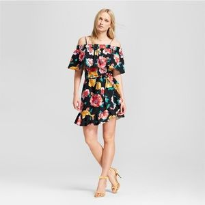 Black and colorful floral dress